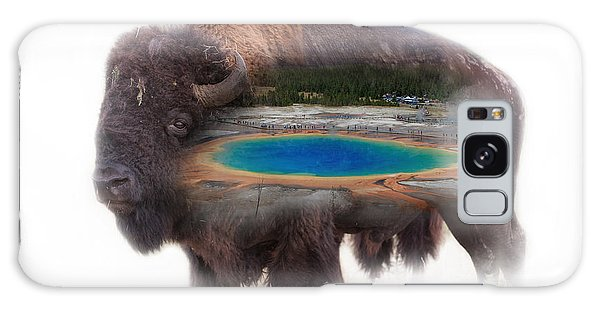 Bison And Great Prismatic Spring Double Exposure Galaxy Case