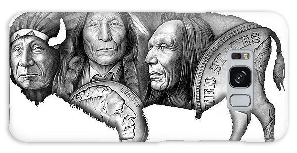 Native American Galaxy Case - Bison Indian Montage 2 by Greg Joens