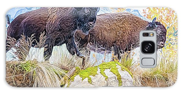 Galaxy Case featuring the digital art Bison Pair by Ray Shiu