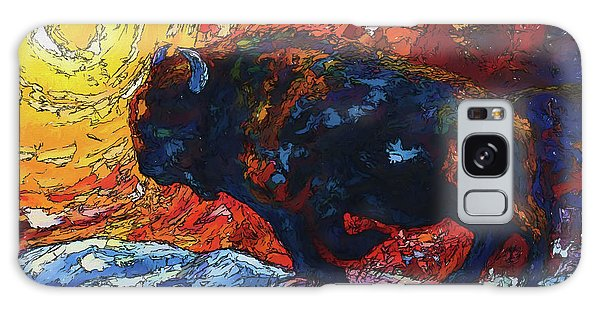 Bison Running Print Of Olena Art Wild The Storm Oil Painting With Palette Knife  Galaxy Case
