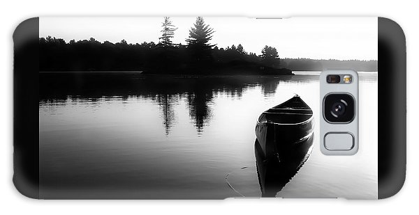 Black And White Canoe In Still Water Galaxy Case