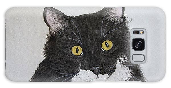 Galaxy Case - Black And White Cat by Megan Cohen