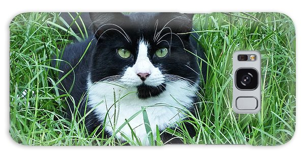 Black And White Cat With Green Eyes Galaxy Case