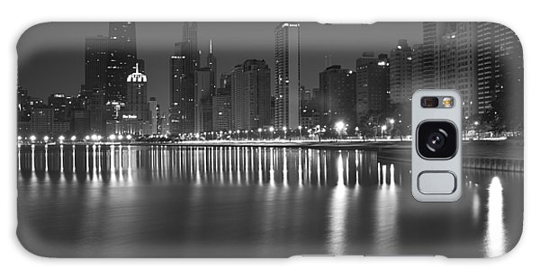 Black And White Chicago Skyline At Night Galaxy Case