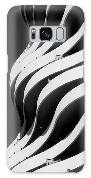 Black And White Concrete Waves Galaxy Case