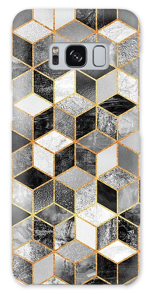 Galaxy Case - Black And White Cubes by Elisabeth Fredriksson
