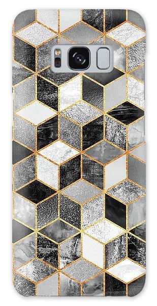 Artwork Galaxy Case - Black And White Cubes by Elisabeth Fredriksson