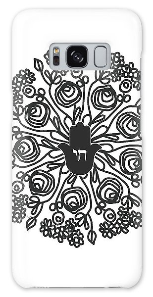 T-shirts Galaxy Case - Black And White Hamsa Mandala- Art By Linda Woods by Linda Woods