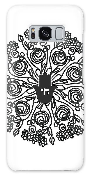 Black And White Hamsa Mandala- Art By Linda Woods Galaxy Case by Linda Woods