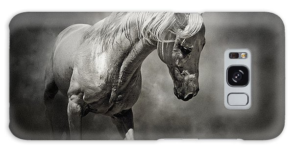 Black And White Horse - Equestrian Art Poster Galaxy Case