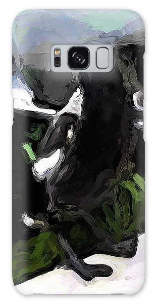 Black And White Magpie On The Porch Galaxy Case