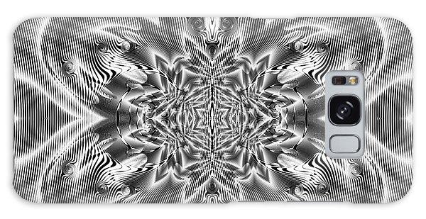 Galaxy Case featuring the digital art Black And White Mandala 9 by Robert Thalmeier