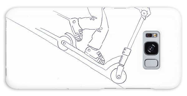 Black And White Micro Scooter Downhill Drawing Galaxy Case