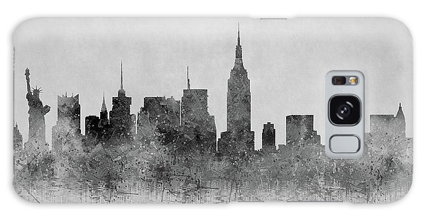 Galaxy Case featuring the digital art Black And White New York Skylines Splashes And Reflections by Georgeta Blanaru