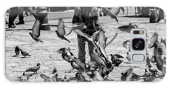 Black And White Of Boy Feeding Pigeons In Sarajevo, Bosnia And Herzegovina  Galaxy Case