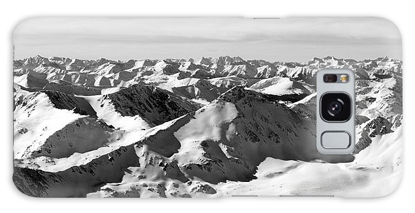 Black And White Of The Summit Of Mount Elbert Colorado In Winter Galaxy Case