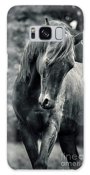 Black And White Portrait Of Horse Galaxy Case