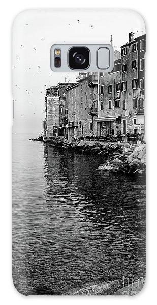 Black And White - Rovinj Venetian Buildings And Adriatic Sea, Istria, Croatia Galaxy Case