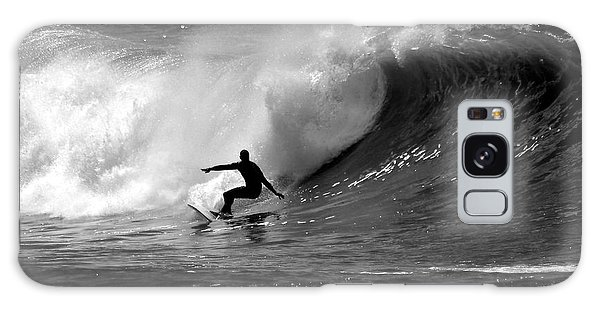 Waves Galaxy Case - Black And White Surfer by Paul Topp