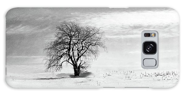 Black And White Tree In Winter Galaxy Case