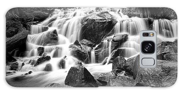 Black And White Waterfall In Lee Vining Canyon Galaxy Case