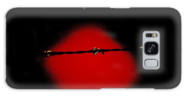 Black Barbed Wire Over Black And Blood Red Background Eery Imprisonment Scene Galaxy Case