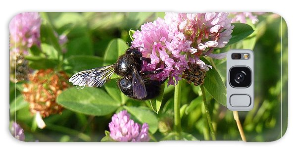 Black Bee On Small Purple Flower Galaxy Case
