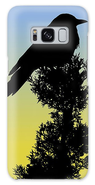 Black-billed Magpie Silhouette At Sunrise Galaxy Case