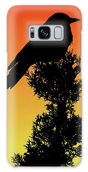 Black-billed Magpie Silhouette At Sunset Galaxy Case