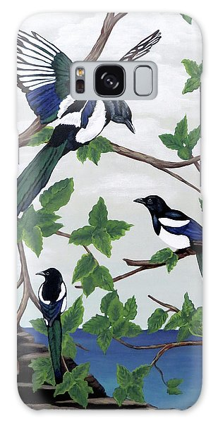 Black Billed Magpies Galaxy Case