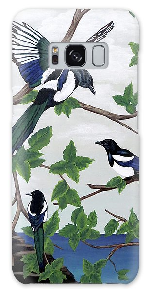 Black Billed Magpies Galaxy Case