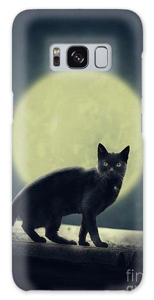 Halloween Galaxy Case - Black Cat And Full Moon by Jelena Jovanovic