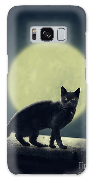Black Cat And Full Moon Galaxy Case