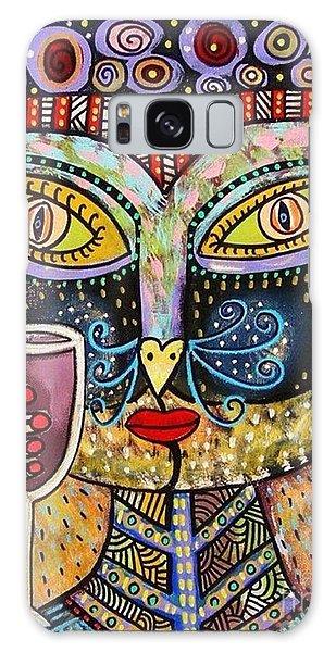 Black Cat Drinking Red Wine Galaxy Case by Sandra Silberzweig