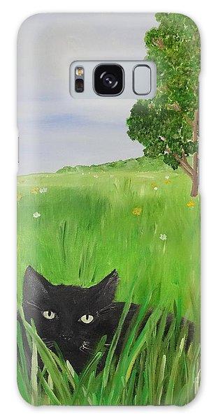 Black Cat In A Meadow Galaxy Case