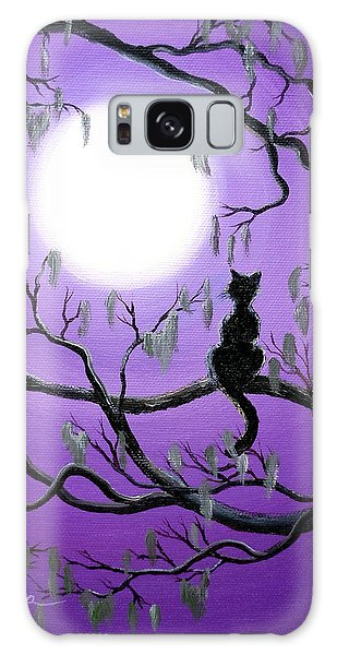 Black Cat In Mossy Tree Galaxy Case by Laura Iverson