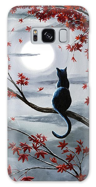 Moon Galaxy Case - Black Cat In Silvery Moonlight by Laura Iverson