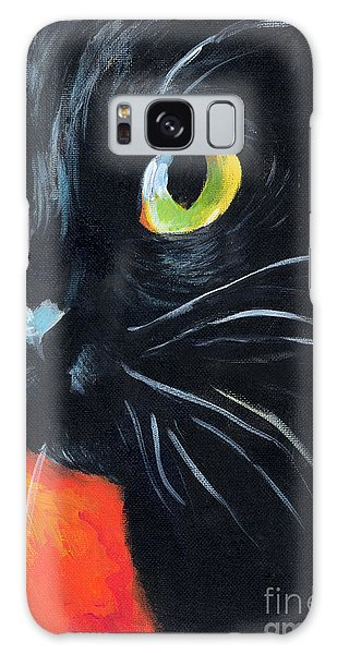 Black Cat Painting Portrait Galaxy Case
