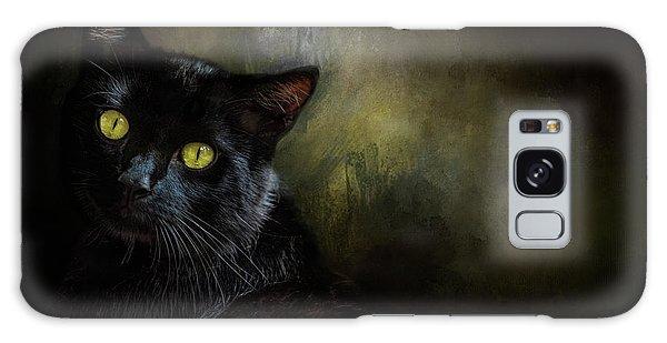 Black Cat Portrait Galaxy Case