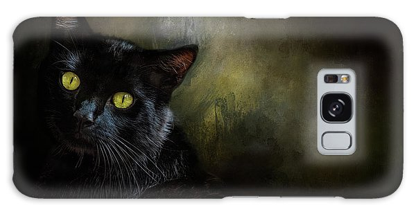 Black Cat Portrait Galaxy Case