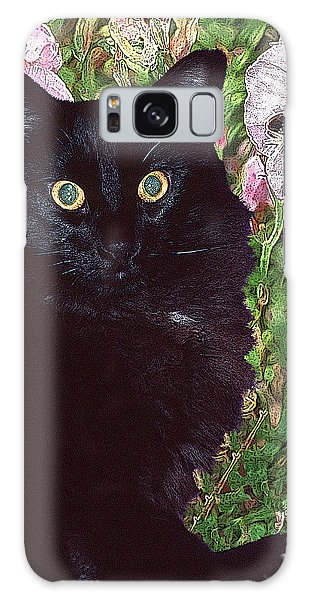 Black Cat Startled By A Bee Galaxy Case