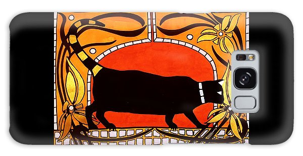 Black Cat With Floral Motif Of Art Nouveau By Dora Hathazi Mendes Galaxy Case by Dora Hathazi Mendes
