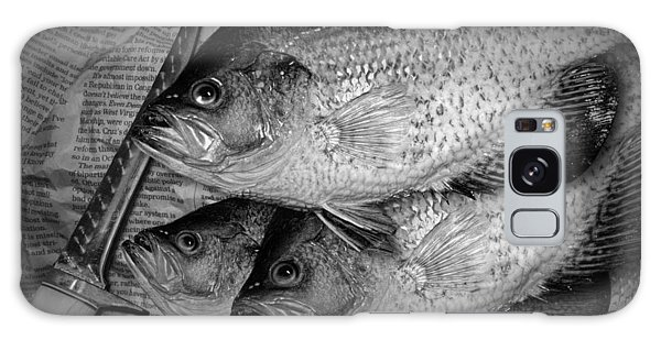 Black Crappie Panfish With Fish Filet Knife In Black And White Galaxy Case
