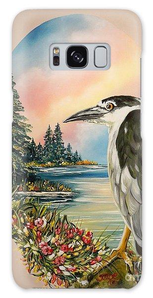 Black Crowned Heron Galaxy Case by Sigrid Tune