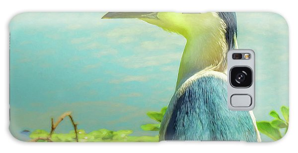 Black-crowned Night Heron Digital Art Galaxy Case