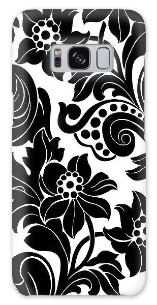 Black Floral Pattern On White With Dots Galaxy Case