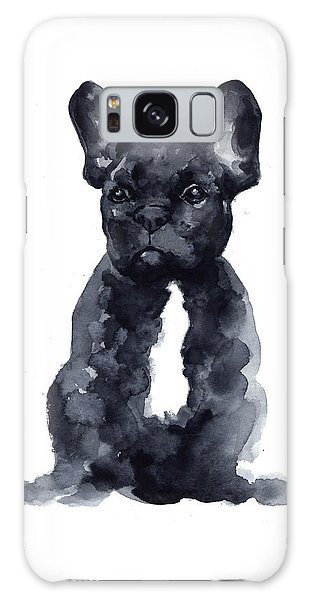 Black French Bulldog Watercolor Poster Galaxy Case by Joanna Szmerdt