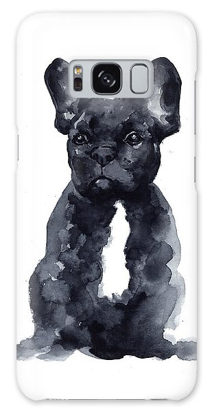 French Galaxy Case - Black French Bulldog Watercolor Poster by Joanna Szmerdt