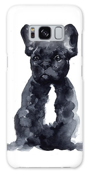 Dog Galaxy S8 Case - Black French Bulldog Watercolor Poster by Joanna Szmerdt