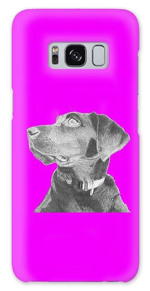 Black Labrador Retriever In Pink Headshot Galaxy Case